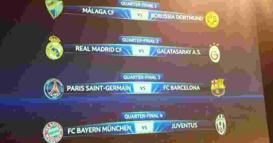 15.mar.2013 - Confrontos das quartas de final da Liga dos Camepões foram definidos em sorteio nesta sexta-feira - Reprodução/Uefa