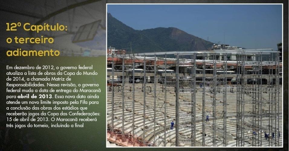 15.mar.2013 -  Foto do final de 2012 mostra os primeiros movimentos para a instalação da cobertura do Maracanã