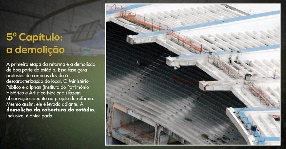 15.mar.2013 - Foto mostra arquibancada e cobertura do Maracanã demolidas para a reforma do estádio