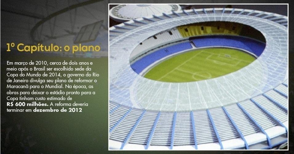 15.mar.2013 - Foto mostra primeira maquete do projeto de reforma do Maracanã para a Copa do Mundo de 2014