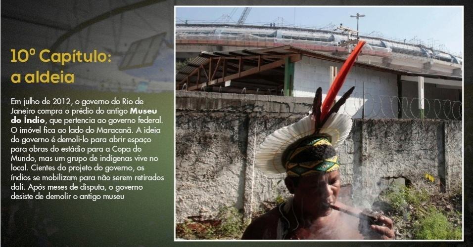 15.mar.2013 - Índios da Aldeia Maracanã resistem a deixar antigo museu para reforma do estádio para a Copa