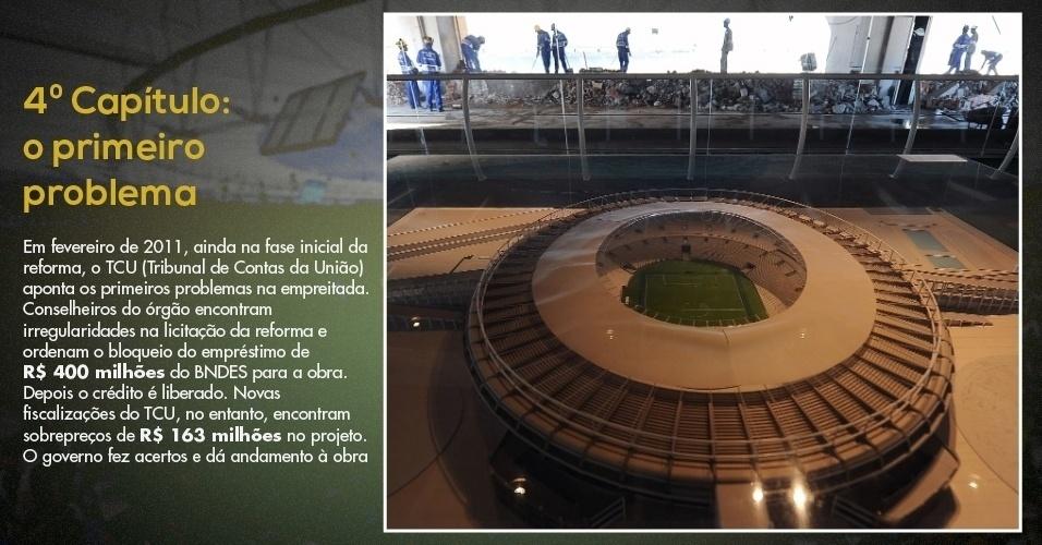 15.mar.2013 - Maquete exibida em exposição sobre o Maracanã ainda na fase inicial das obras no estádio