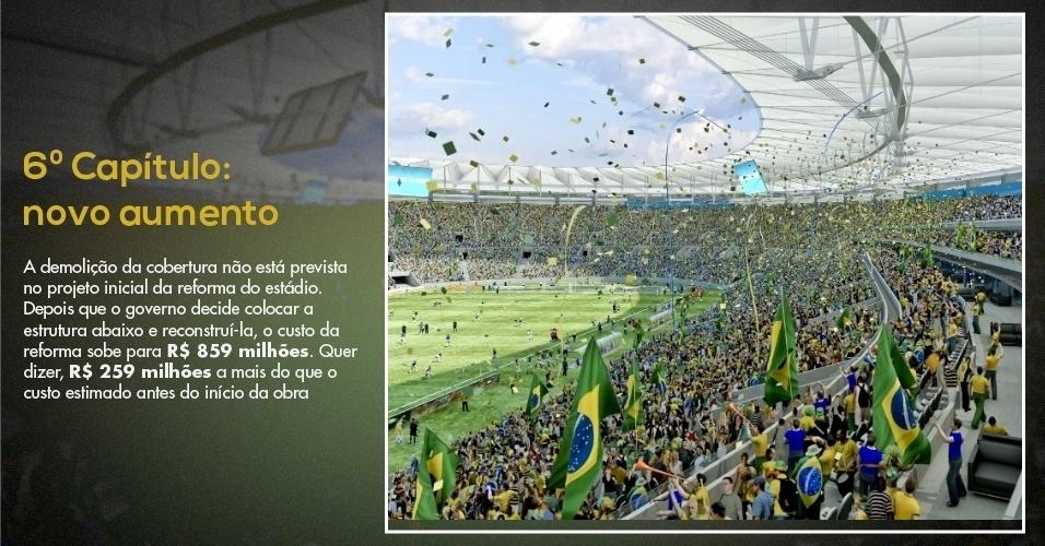15.mar.2013 - Nova maquete já mostra Maracanã com seu novo projeto de cobertura, mais cara que anterior