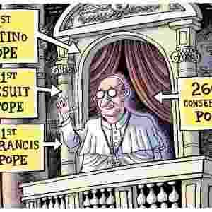 """15.mar.2013 - O cartunista americano Rob Rogers publicou no blog """"Post Gazette"""" uma charge onde o papa Francisco é avaliado como """"o 1º papa latino americano"""", """"o 1º papa jesuíta"""", """"o 1º papa Francisco"""" e o """"266º papa conservador"""" - Reprodução/Post Gazette"""