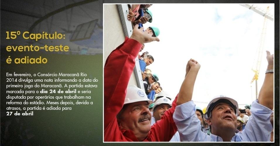 15.mar.2013 - O ex-presidente Lula e o governador Sergio Cabral visitam obra do Maracanã e são recebidos por operários