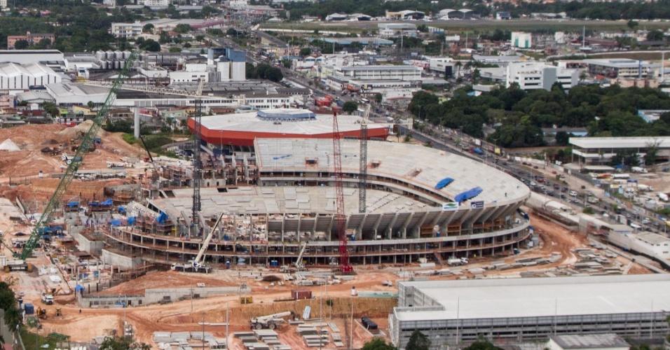 Ao fim de fevereiro, a Arena Amazônia, em Manaus, estava com 56% dos trabalhos concluídos