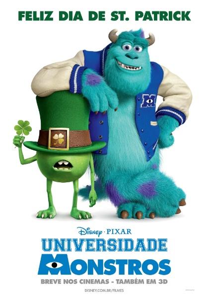 """Pôster especial da animação """"Universidade Monstros"""" comemora o dia de Saint Patrick, padroeiro da Irlanda, comemorado em 17 de março"""