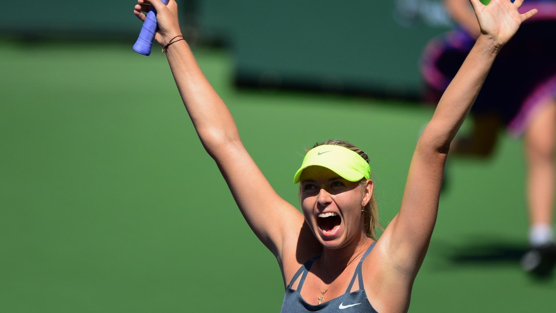 17.mar.2013 - Maria Sharapova comemora vitória no Masters 1000 de Indian Wells
