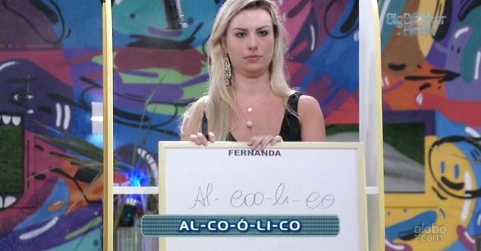 17.mar.2013 - Fernanda erra a separação de sílabas da palavra