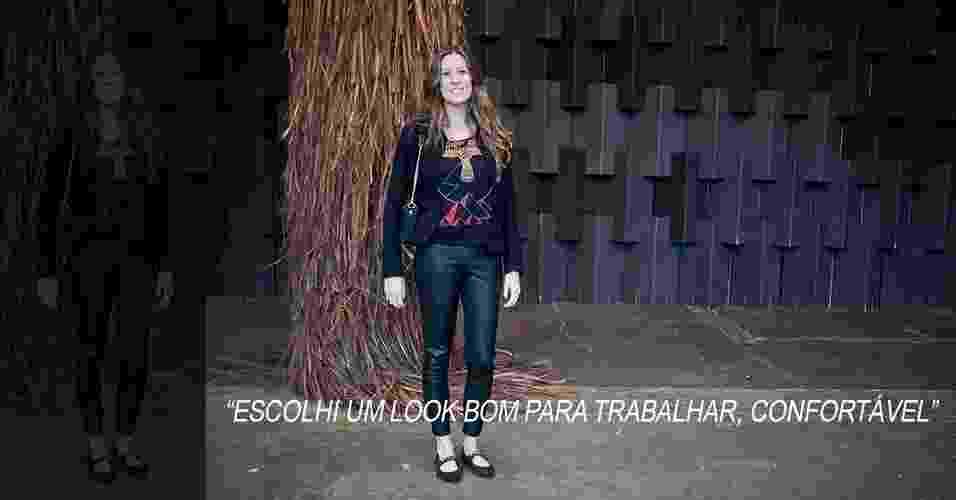 18 mar. 2013 - Ana Elisa Victor, 33, trabalha para a marca Animale. Ela usa sapatilhas FYI, calça Zara, camiseta Urban Outfitters, casaco Mixed e bolsa Givenchy - Patrícia Araújo/UOL