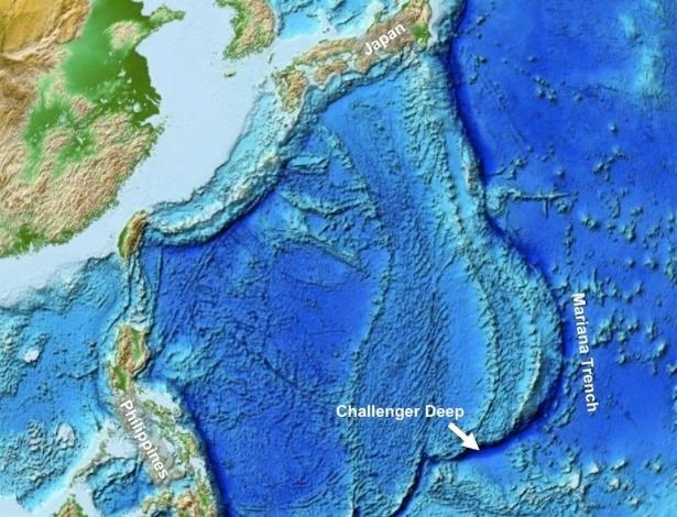 """18.mar.2013 - Cientistas detectaram grande atividade de micróbios nas profundezas da Fossa das Marianas, no Oceano Pacífico, que é considerado o ponto mais profundo da Terra - o local é uma fenda com cerca de 11 quilômetros de profundidade no Abismo de Challenger. """"Nossa conclusão é que o importante depósito de matéria orgânica no Abismo de Challenger mantém atividade microbiana em ascensão, apesar das pressões extremas que caracterizam este entorno"""", afirma o estudo publicado na 'Nature Geoscience'"""