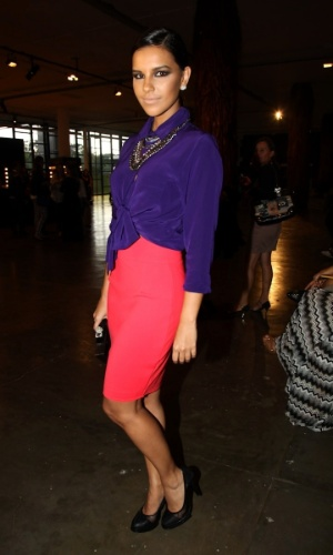 18.mar.2013 - Mariana Rios prestigiou o primeiro dia da São Paulo Fashion Week Verão 2014 que acontece na Bienal, em São Paulo