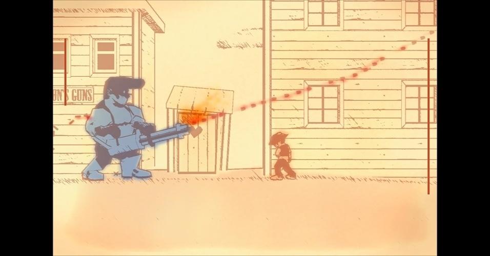 """Com claras influências de """"Mega Man"""", """"Gunman Clive"""" (PC/3DS/celulares) é aventura em um faroeste em que locomotivas transformam-se em robôs."""