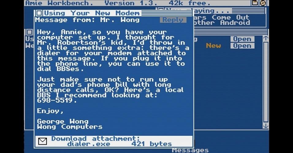 """""""Digital: A Love Story"""" (PC) é uma 'visual novel' - um livro interativo. Nele, os jogadores enxergam o mundo pela tela de um PC antigo."""