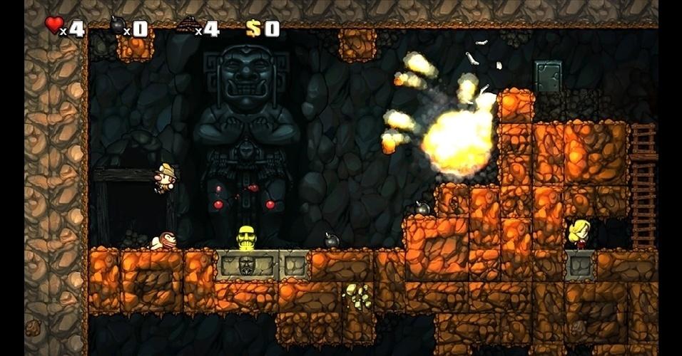 """Em """"Spelunky"""" (PC/X360), o objetivo é explorar túneis subterrâneos e coletar montanhas de tesouros e riquezas."""