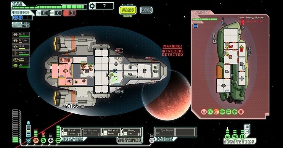 """No game de estratégia em tempo real """"FTL: Faster Than Light"""" (PC), o objetivo é controlar a equipe de uma nave espacial."""
