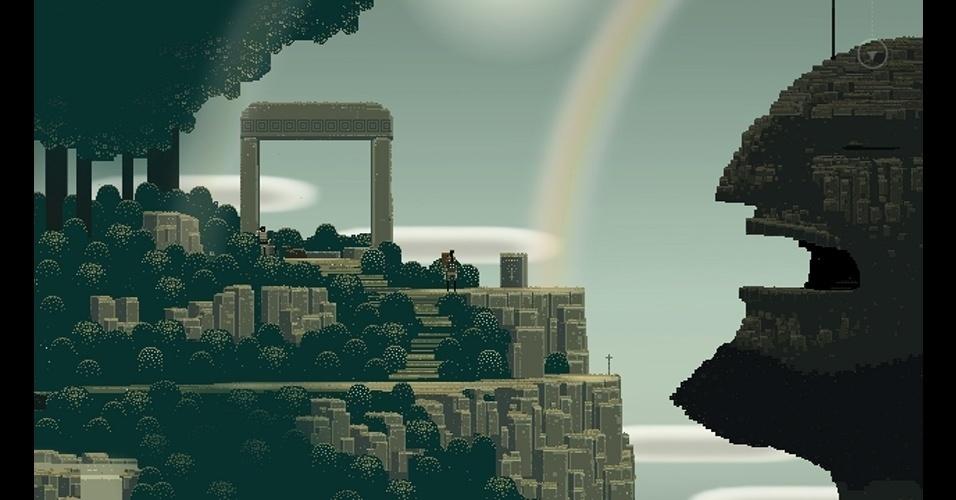 """O jogo de aventura """"Superbrothers: Sword & Sworcery EP"""" (PC/celulares) tem gráficos diferenciados e um foco na experiência sonora."""