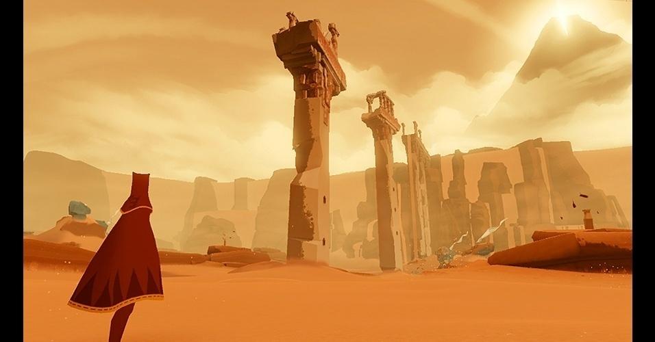 """O muito premiado """"Journey"""" (PS3) é o belo conto da aventura de um ser misterioso até uma montanha no horizonte do deserto."""