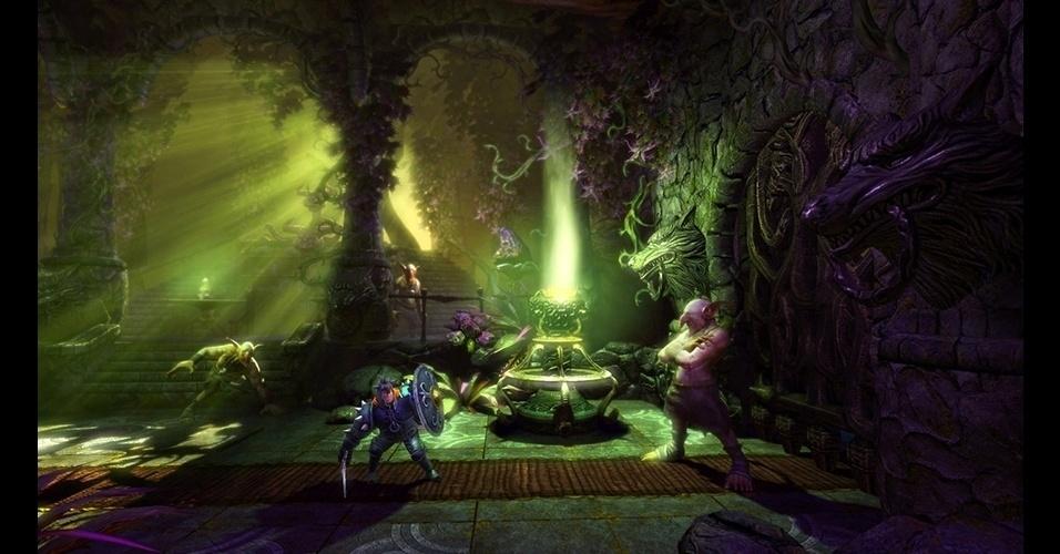 """Um bruxo, uma ladra e um cavaleiro devem cooperar para sobreviver no game de ação """"Trine 2"""" (PC/Wii U/PS3/X360)."""