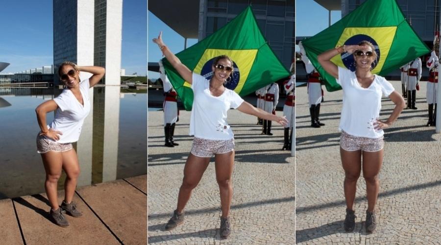 18.mar.2013 - Valesca Popozuda aproveitou sua ida a Brasília para conhecer o Congresso Nacional.