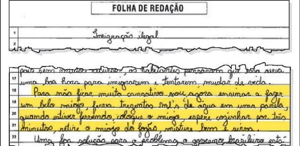 Trecho da redação do Enem em que um candidato ensina como preparar miojo  -  Editoria de Artes/Agência O Globo