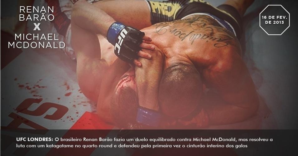 UFC Londres: O brasileiro Renan Barão fazia um duelo equilibrado contra Michael McDonald, mas resolveu a luta com um katagatame no quarto round e defendeu pela primeira vez o cinturão interino dos galos