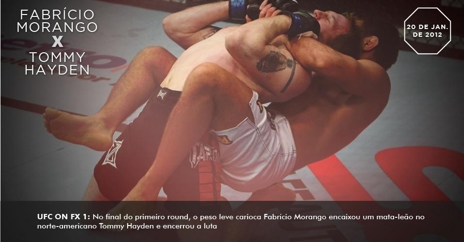 UFC on FX 1: No final do primeiro round, o peso leve carioca Fabrício Morango encaixou um mata-leão no norte-americano Tommy Hayden e encerrou a luta