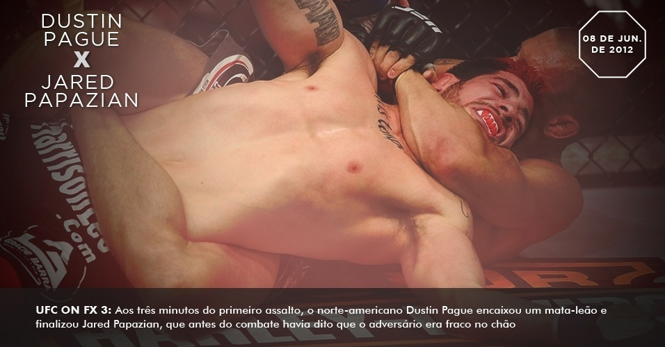 UFC on FX 3: Aos três minutos do primeiro assalto, o norte-americano Dustin Pague encaixou um mata-leão e finalizou Jared Papazian, que antes do combate havia dito que o adversário era fraco no chão