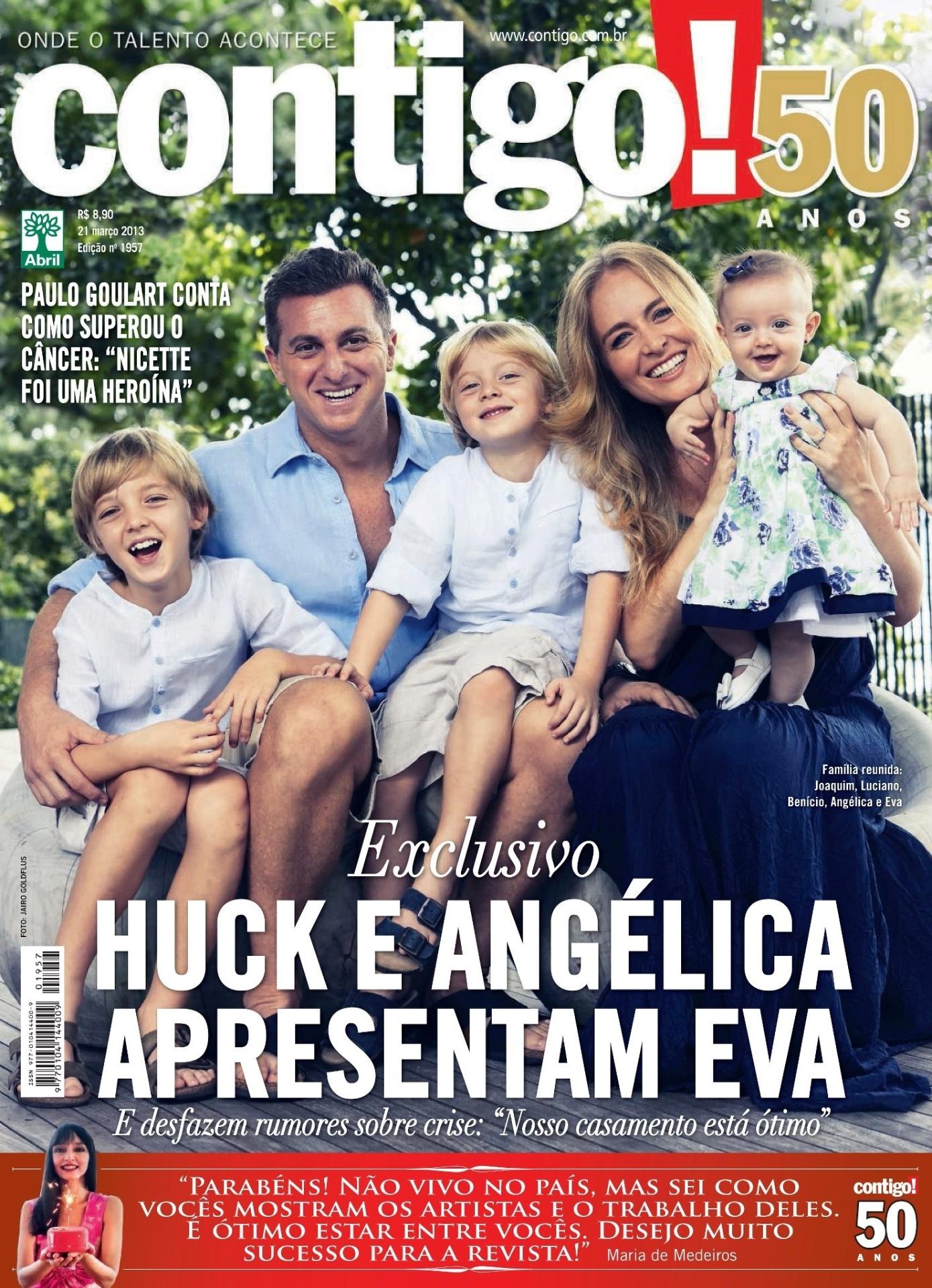 19.mar.2013 - Angélica mostrou pela primeira vez a filha Eva em foto para a revista