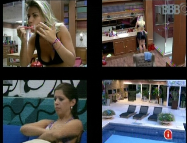 "19.mar.2013 - Fernanda usa lâmina de barbear na casa do ""BBB13"""