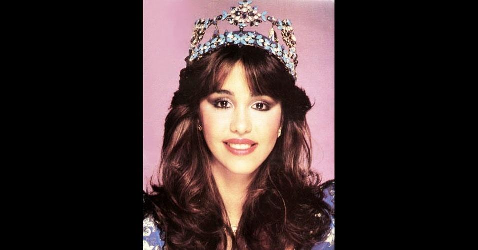 A dominicana Mariasela Alvarez Lebrón venceu o Miss Mundo 1982, realizado em Londres, no Reino Unido