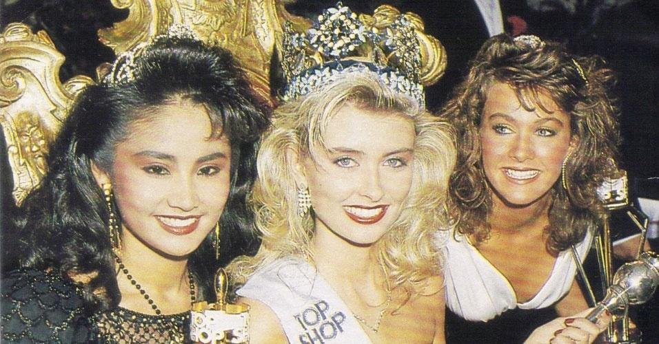 A islandesa Linda Pétursdóttir venceu o Miss Mundo 1988, realizado em Londres, no Reino Unido