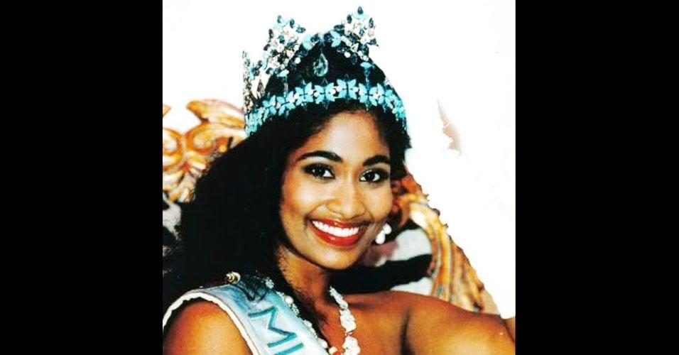 A jamaicana Lisa Hanna venceu o Miss Mundo 1993, realizado em Sun City, na África do Sul