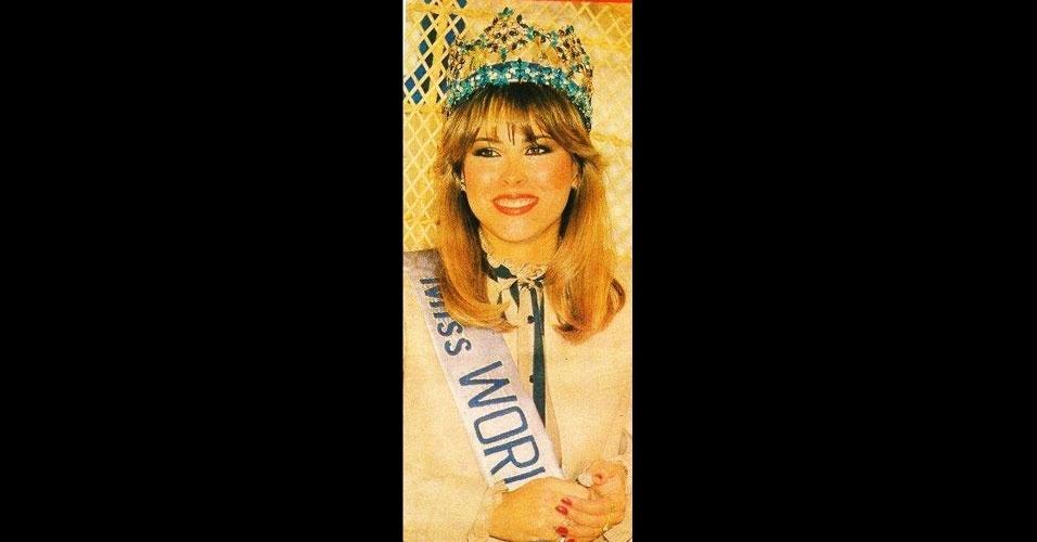 """A venezuelana Carmen Josefina """"Pilín"""" León Crespo venceu o Miss Mundo 1981, realizado em Londres, no Reino Unido"""