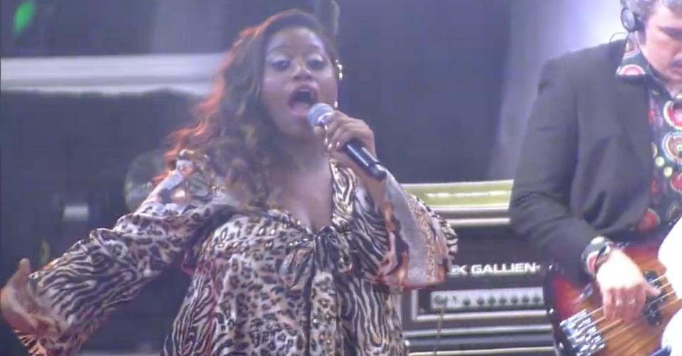 "13.fev.2013 - Ludmillah Anjos também se apresentou na festa ""The Voice Brasil"""