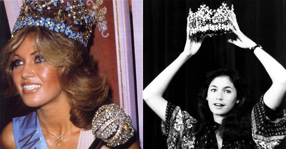 A alemã Gabriella Brum (esq.) venceu o Miss Mundo 1980, realizado em Londres, no Reino Unido, e renunciou 18 horas depois de conquistar a coroa, dando origem ao reinado mais curto da história do concurso. Brum disse que não queria se separar de seu namorado de 52 anos, com quem se casou em 81 e pouco depois se separou. A vice-campeã Kimberly Santos (esq.), que representantou Guam no concurso, assumiu a coroa