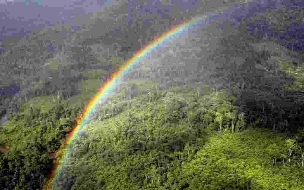 21.mar.2013 - Um arco-íris cruza o céu sobre a floresta Ulu Baram, na Malásia, em dezembro de 2007 - AFP