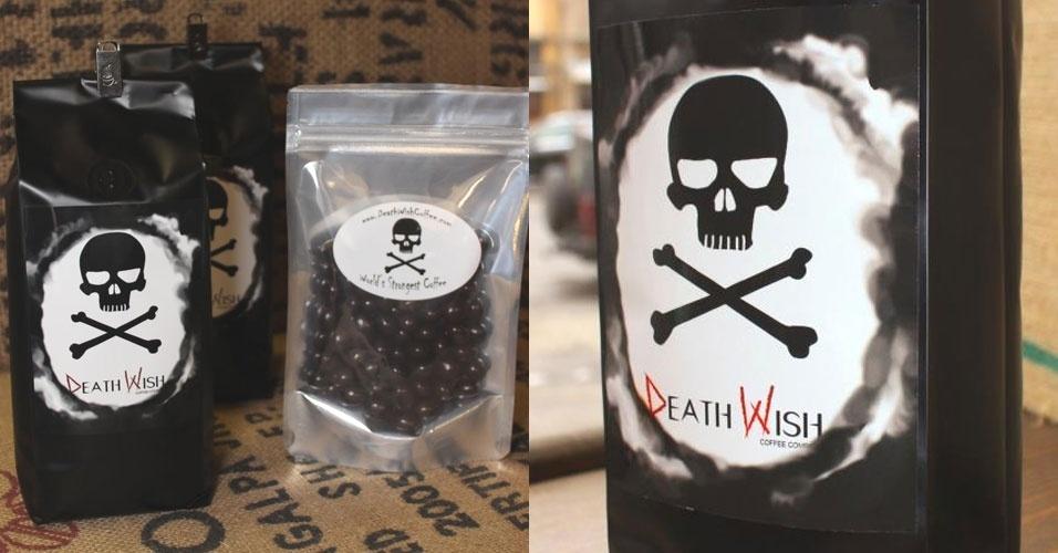 """Um americano criou """"o café mais forte do mundo"""" batizado de """"Desejo de Morte"""", ou Death Wish Coffee (em inglês), com um teor de cafeína 200% superior ao normal"""