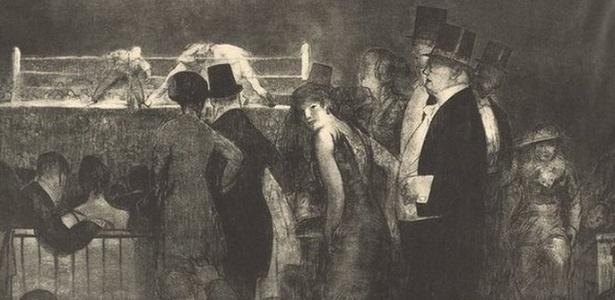 Litografia de 1916, inspirada na primeira grande luta no Madison Square Garden, de Nova York, que podia ser assistida por mulheres -