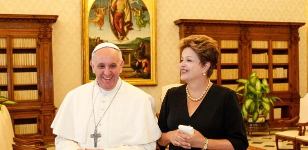 A presidente Dilma Rousseff foi recebida em audiência pelo papa Francisco no Vaticano