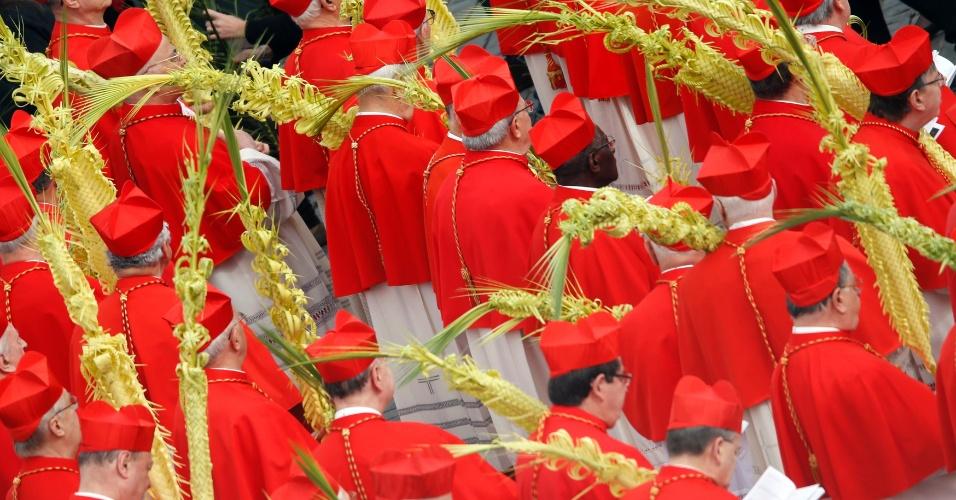 24.mar.2013 - Cardeais se posicionam antes do papa Francisco começar a tradicional missa do Domingo de Ramos, na praça de São Pedro, no Vaticano