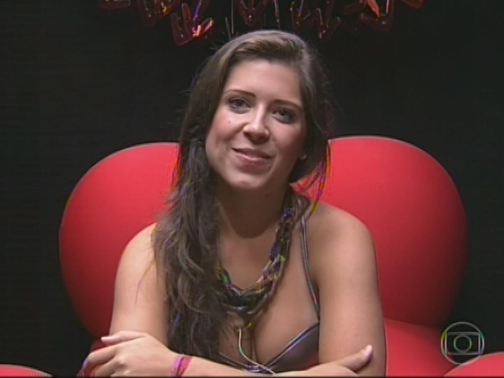25.mar.2013 - Entrevistada por Pedro Bial, Andressa diz ter medo da reação de sua mãe ao seu comportamento no jogo