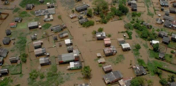Vista de bairro que ficou inundado depois de cheia do rio Acre, em Rio Branco - Prefeitura de Rio Branco/Divulgação