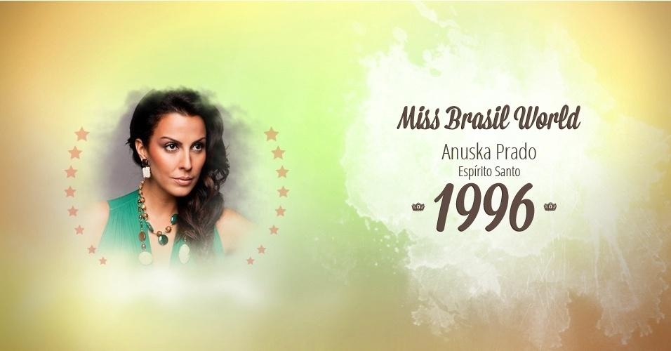 Anuska Prado representou Espírito Santo e venceu o Miss Brasil World 1996