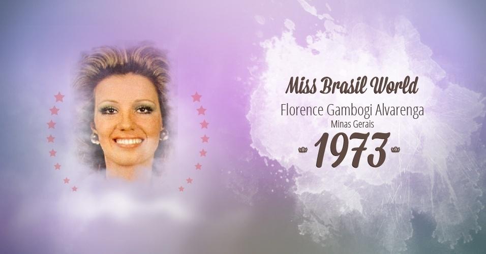 Florence Gambogi Alvarenga representou Minas Gerais e venceu o Miss Brasil World 1973