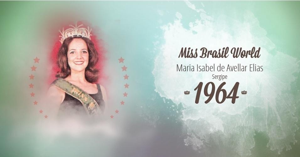 Maria Isabel de Avellar Elias representou Sergipe e venceu o Miss Brasil World 1964
