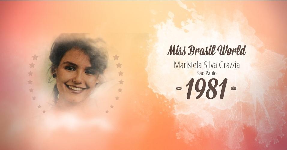 Maristela Silva Grazzia representou São Paulo e venceu o Miss Brasil World 1981