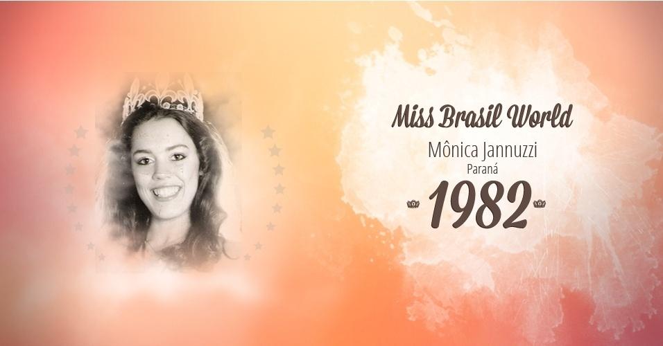 Mônica Jannuzzi representou Paraná e venceu o Miss Brasil World 1982