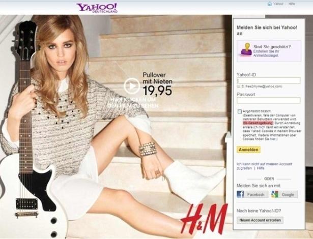O anúncio publicitário da marca de roupas H&M na página do Yahoo causa certa estranheza: as modelos utilizadas nessas campanhas geralmente são bem altas. Mas parece que alguma coisa aconteceu e a garota da foto ganhou pernas mais curtas. Com uma ajuda do Photoshop, ela passou a caber melhor na página