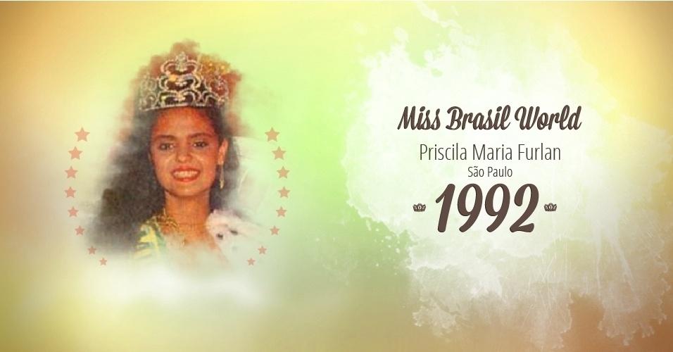 Priscila Maria Furlan representou São Paulo e venceu o Miss Brasil World 1992